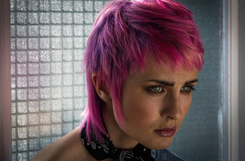 woman with short pink hair